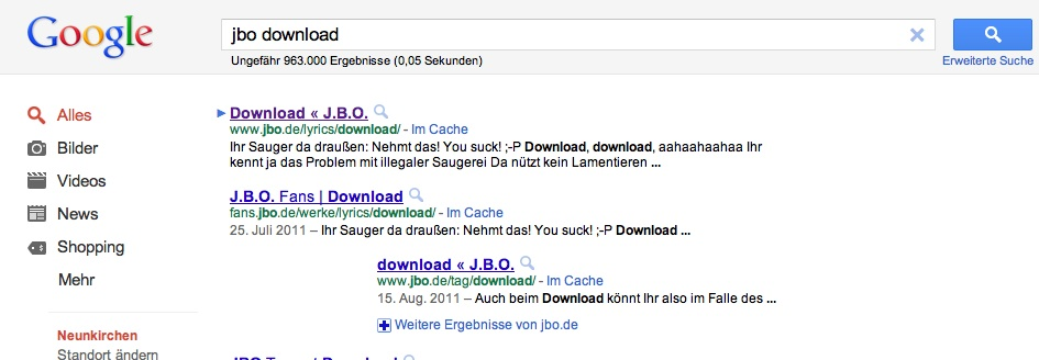 SEO per Song – funktioniert :)