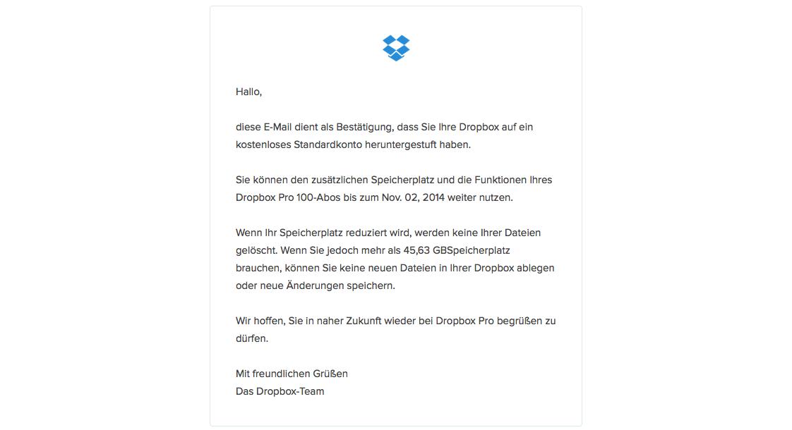 Dropbox Kündigung