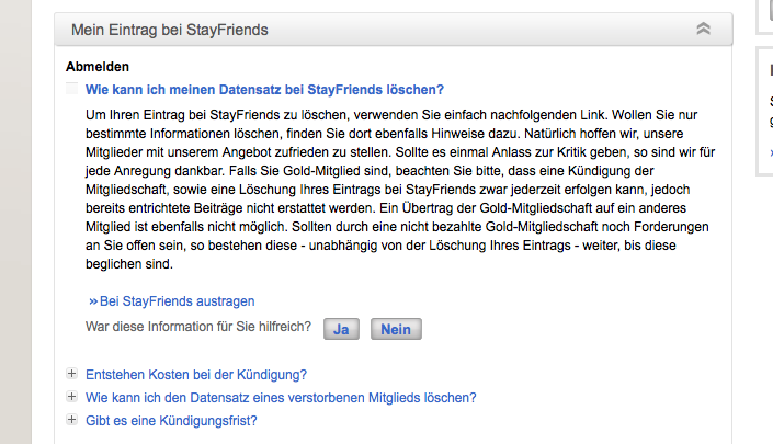 Tschüss StayFriends…