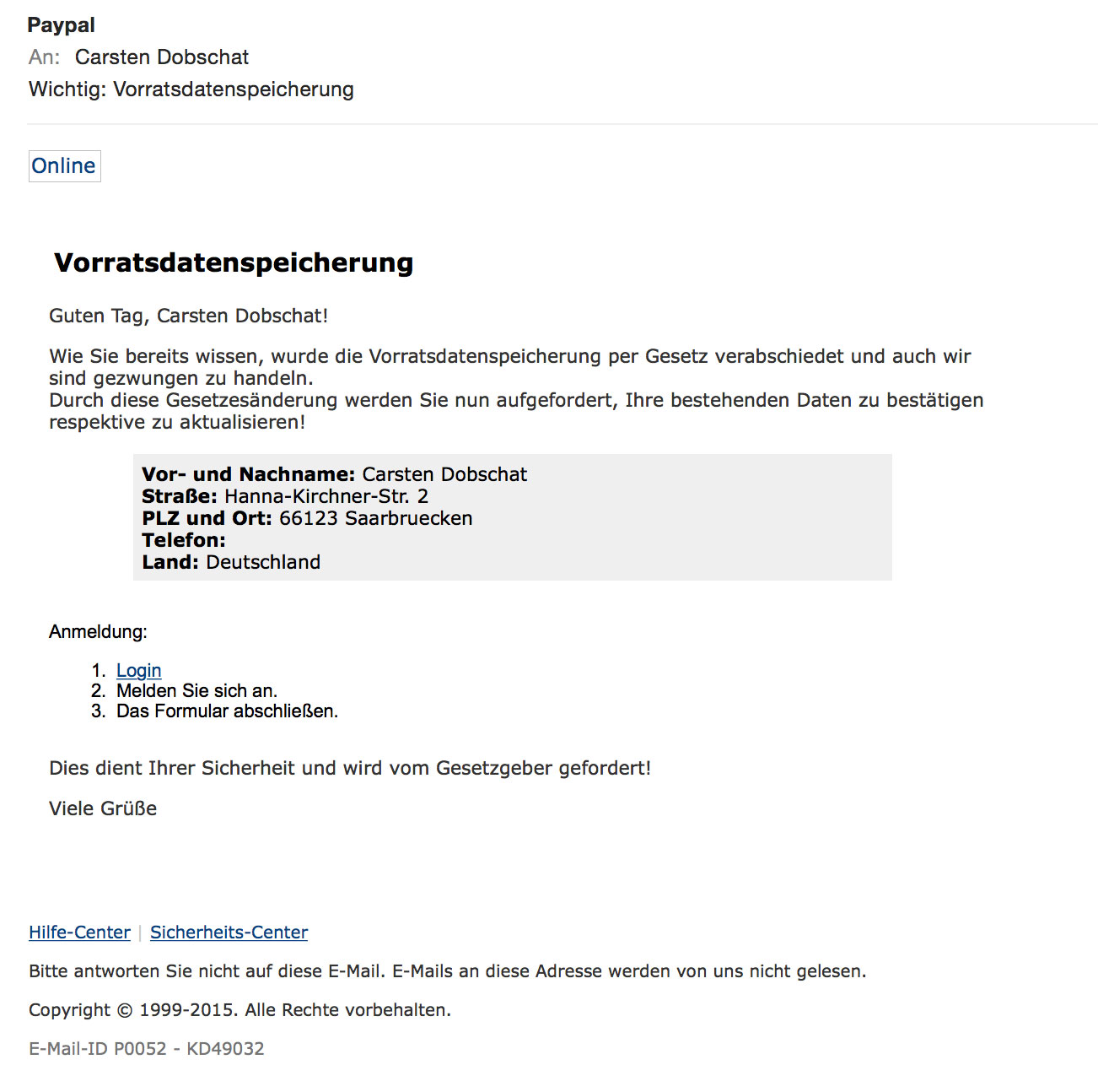 Paypal-Vorratsdatenspeicherungs-Phishing