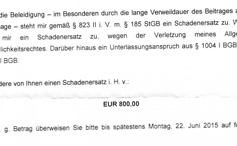 Meinungsfreiheit, Strafanzeige und 800 Euro Schadenersatz [Update]