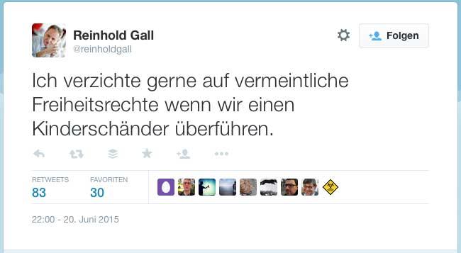 VDS: Reinhold Gall setzt noch einen drauf