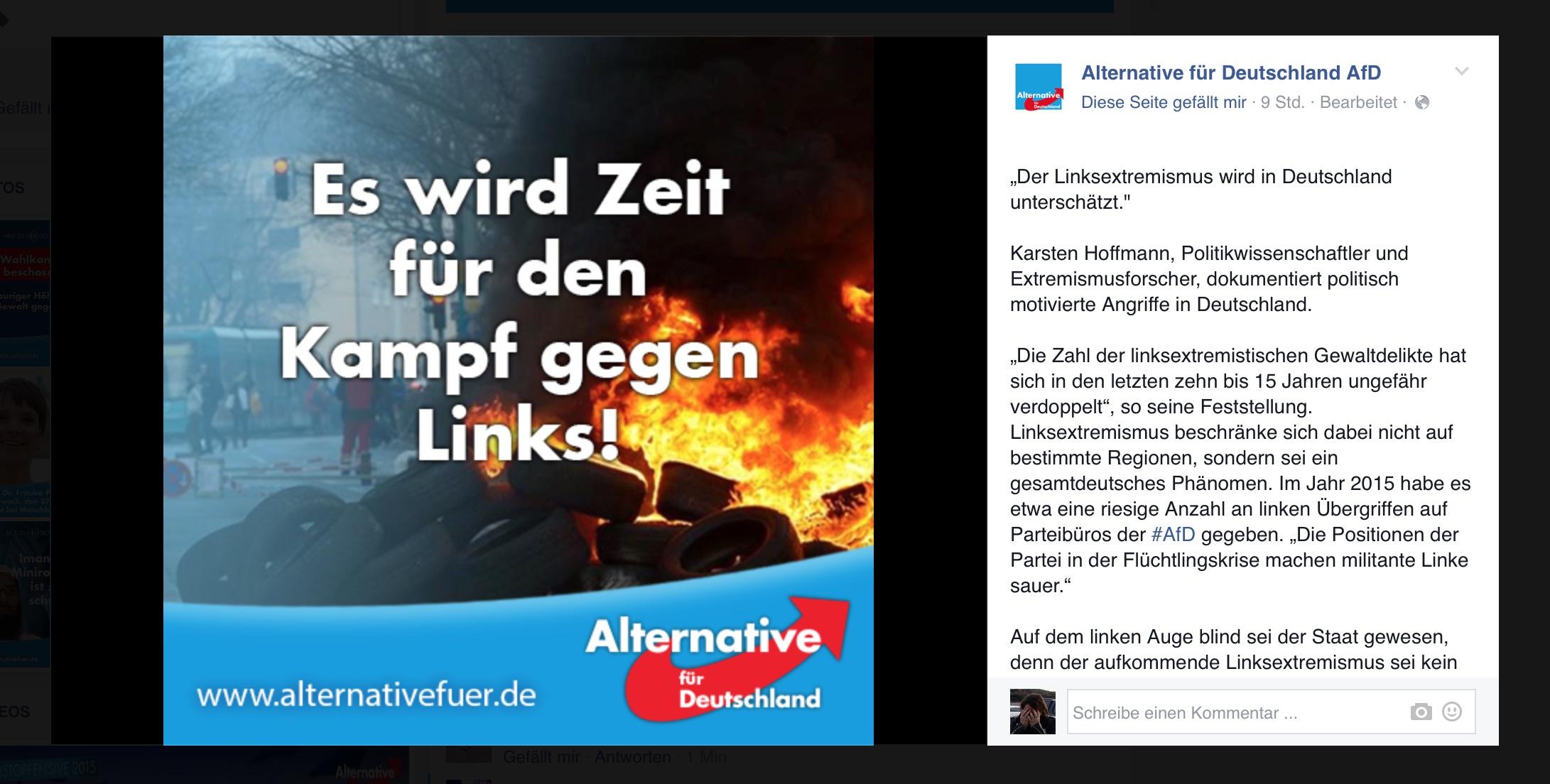 AfD: Es wird Zeit für den Kampf gegen Links!