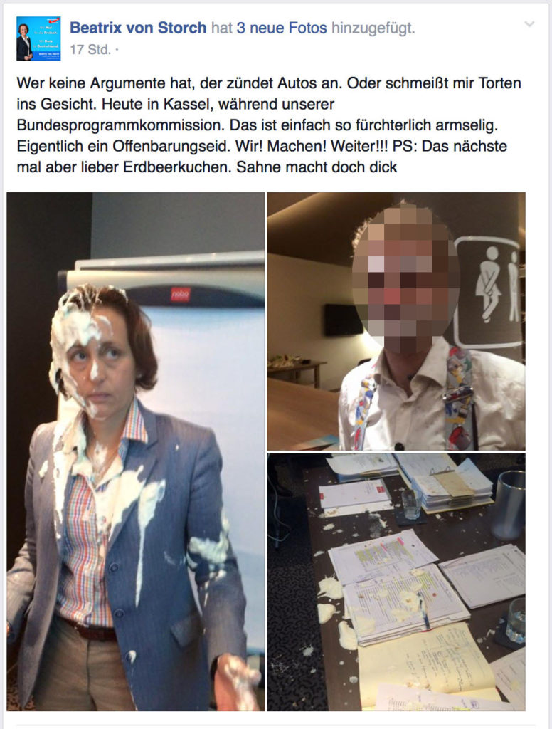Beatrix von Storch getortet, Screenshot vom Facebook-Profil der Dame