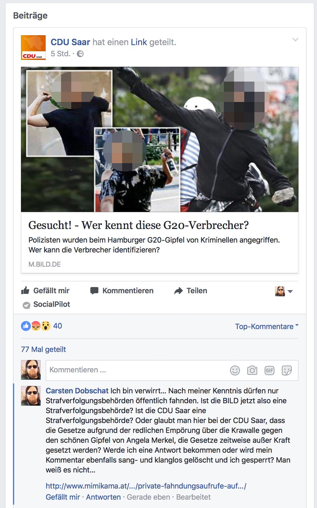 CDU Saar, Bild-Zeitung, Privatfahndung und mein Fehler