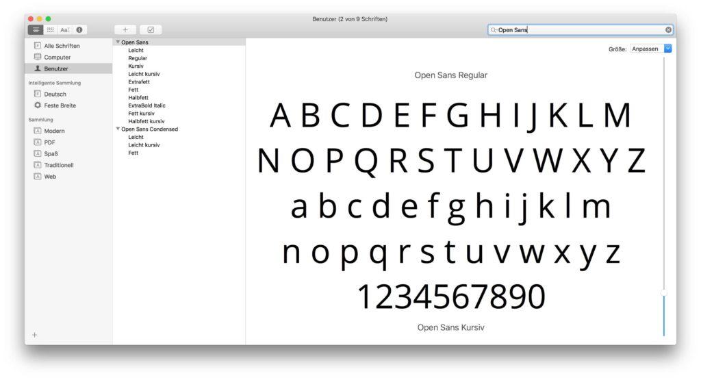 Open Sans die ganze Familie lokal auf dem Mac