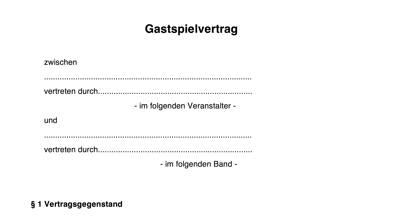 Muster für Konzertvertrag