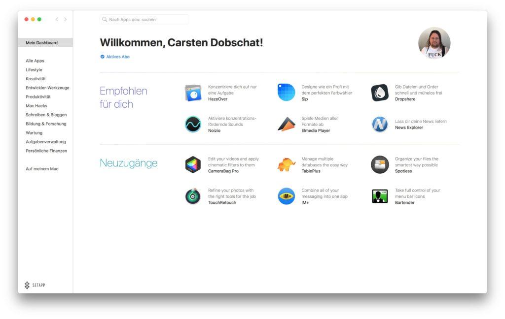 Setapp Startseite der App